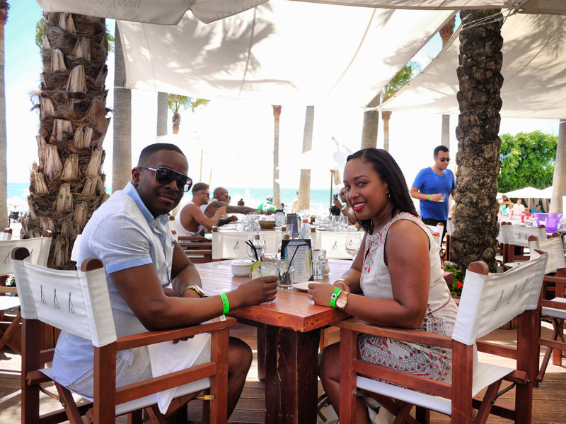 Nat and Mase Having Lunch at Nikki Beach in Marbella, Spain