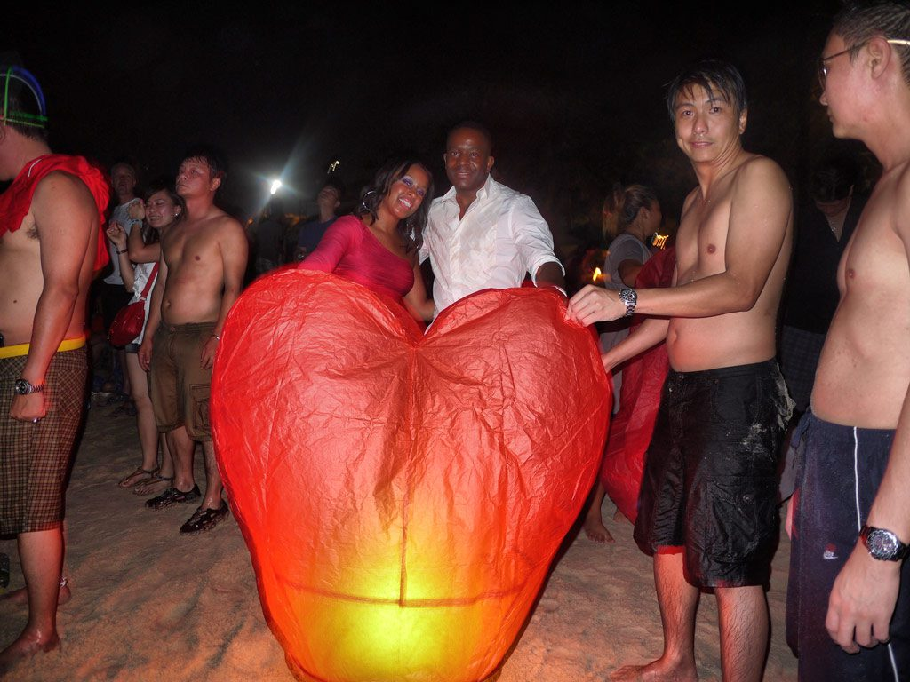 Nat and Mase on Patong Beach with Heart Lantern - Phuket, Thailand