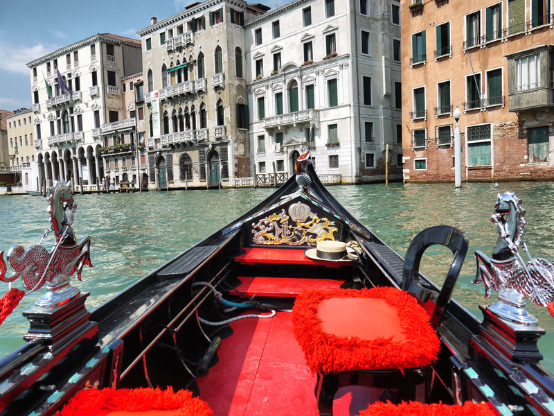 Cruising Across The Grand Canal on a Private Gondola in Venice, Italy