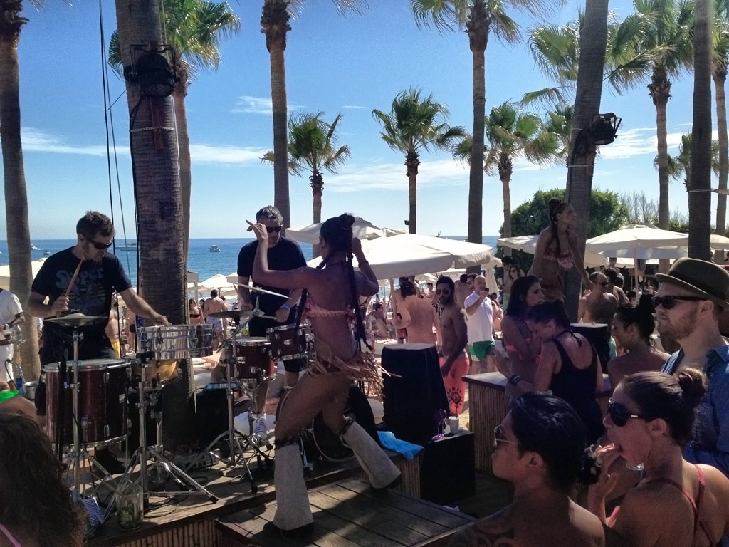 Dancers and Drummers on Stage at Nikki Beach - Marbella, Spain
