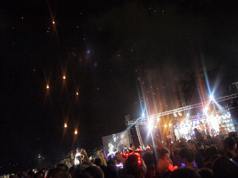 Music Stage and Lanterns in the Sky at Patong Beach New Years Eve Party - Phuket, Thailand
