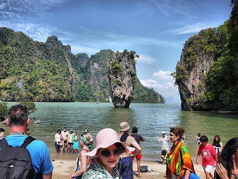 Tourists Exploring James Bond Island - Phang Nga Bay, Thailand