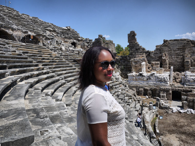 Me (Nat) Exploring the Ruins of the Greek Amphitheatre in Side, Turkey