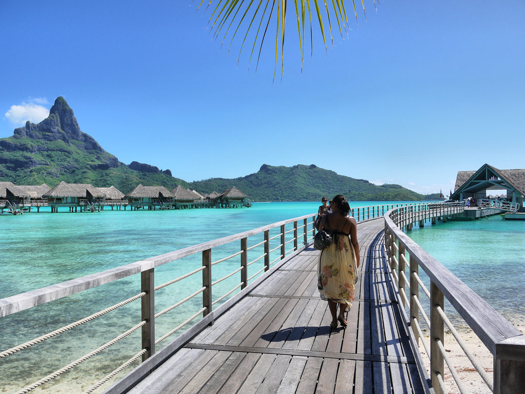 Nat Walking Along the Jetty at the Intercontinental Bora Bora Resort & Thalasso Spa