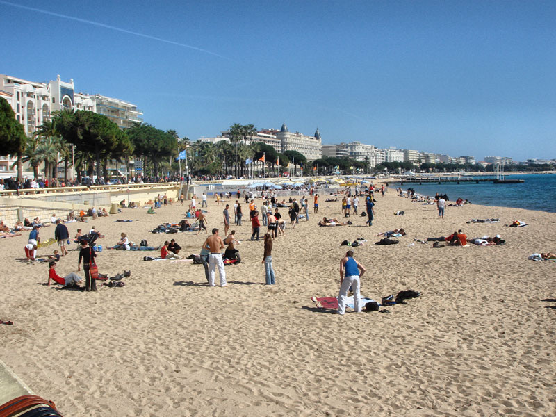 Plage de la Croisette - With the Famous Carlton Hotel in the Distance