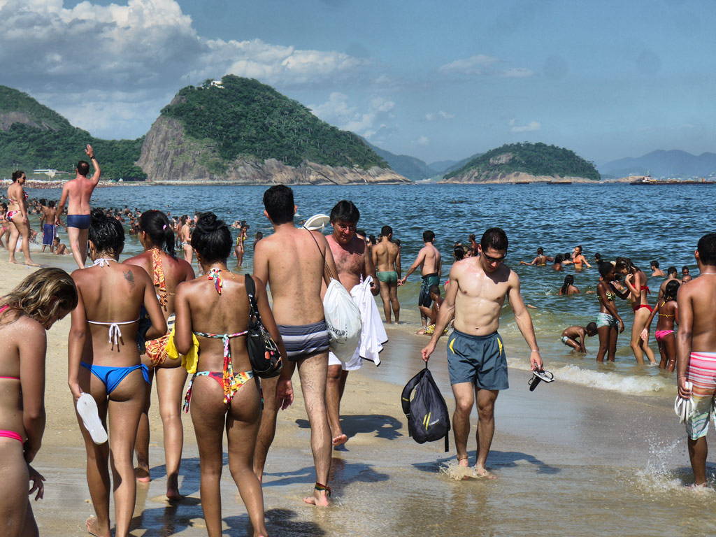 Beach Revellers on Copacabana Beach - Thong Bikinis, Swimming, Havaianas