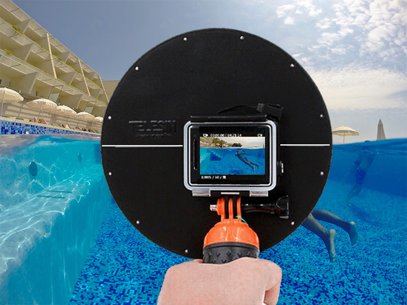 Ensure that the White Line on the GoPro Dome Port rear is Level with the Water Level