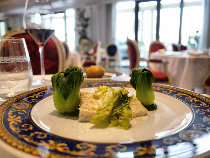 A Gourmet Italian Lunch: Steamed Sea Bass with Salsa Verde & Steamed Vegetables