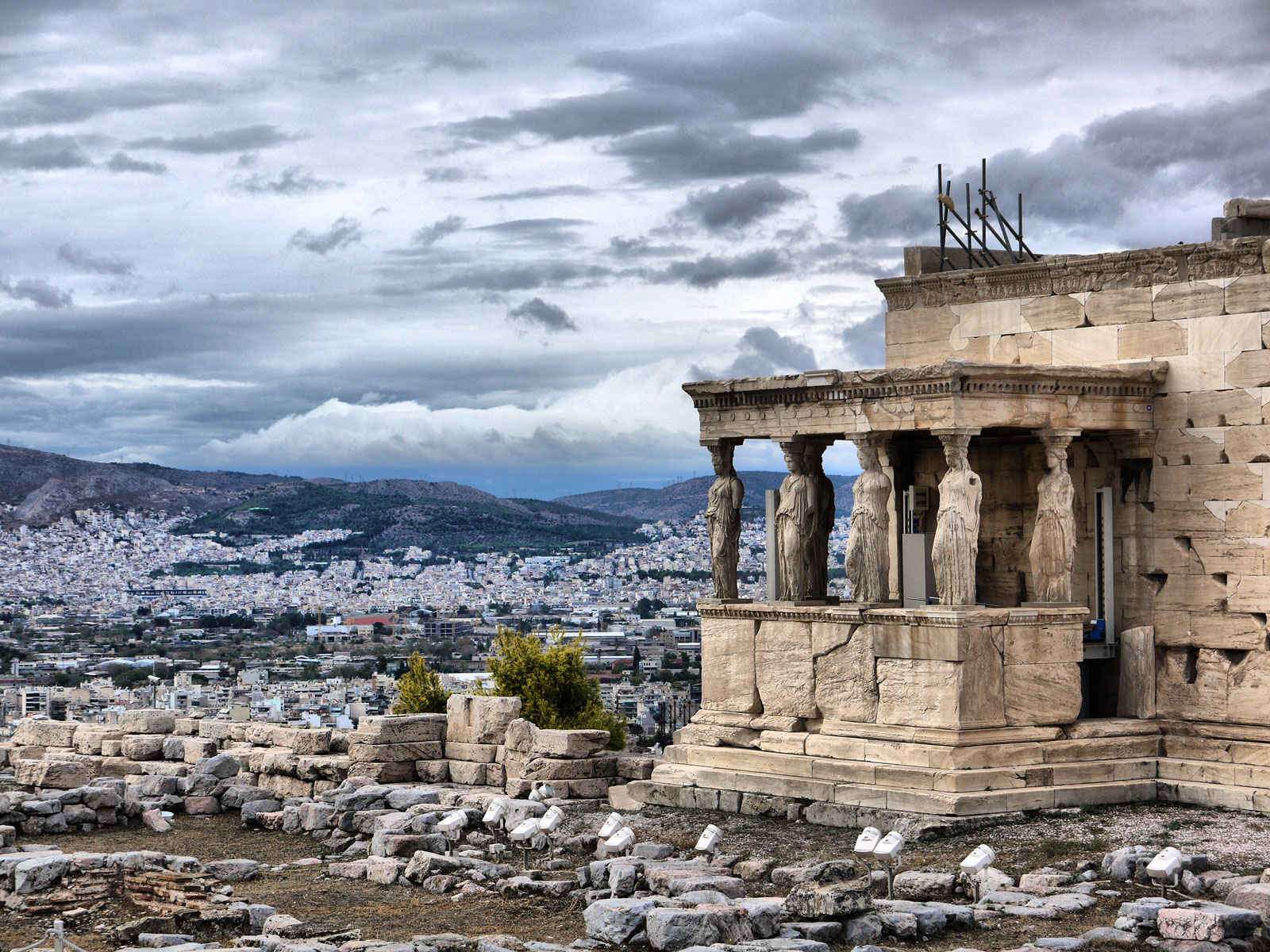Admiring the Porch of The Maidens at The Erechtheum - Athens, Greece