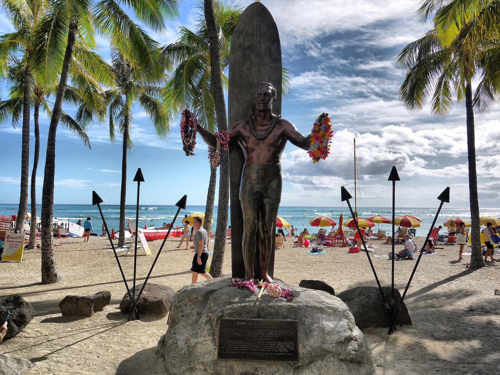 Paying Dues to Duke Kahanamoku at Waikiki Beach - Honolulu, USA