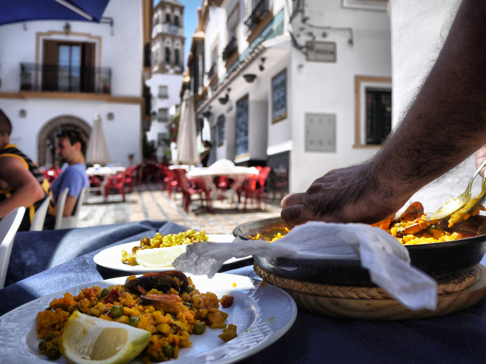 Enjoying Paella in the Old Town at El Pozo Viejo - Marbella, Spain