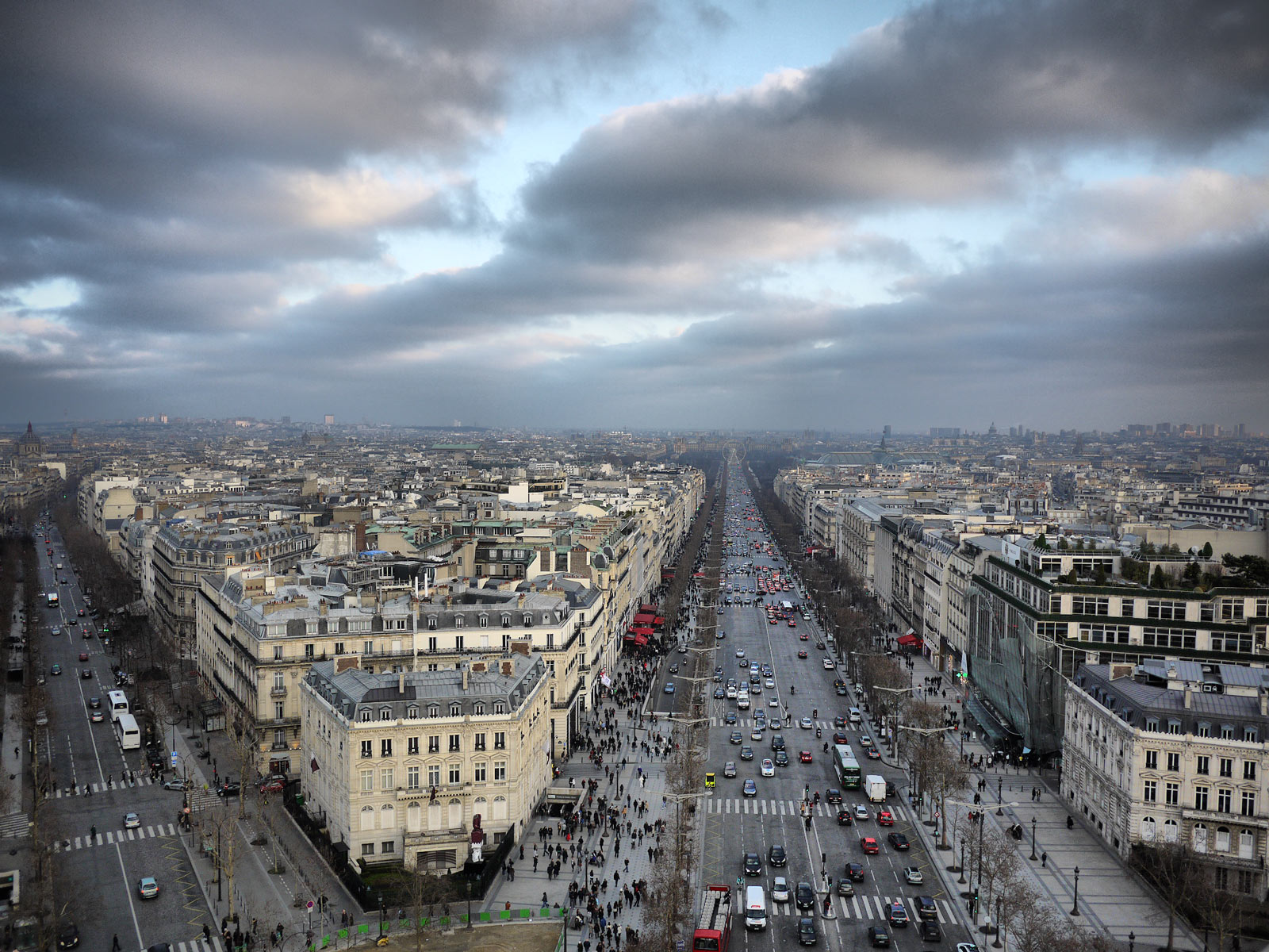 Looking Down Champs-Elysées from Up Above - Paris, France