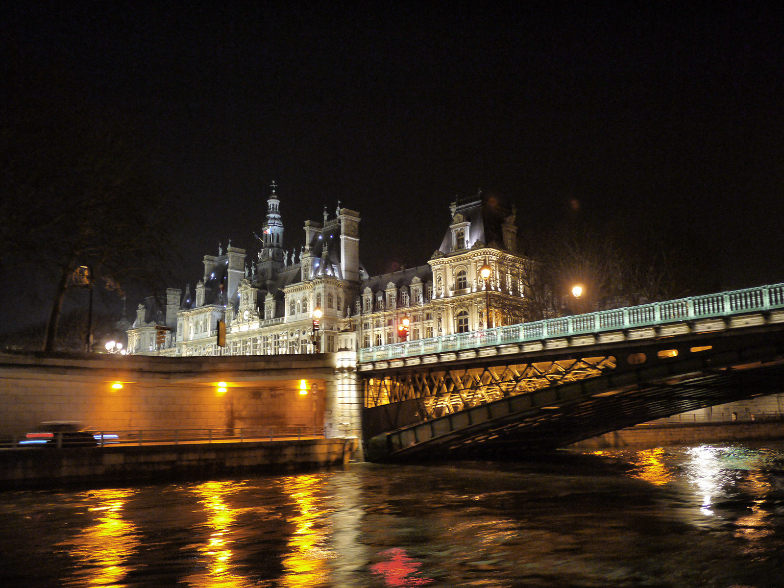 Enjoying a Night Cruise on the River Seine - Paris, France