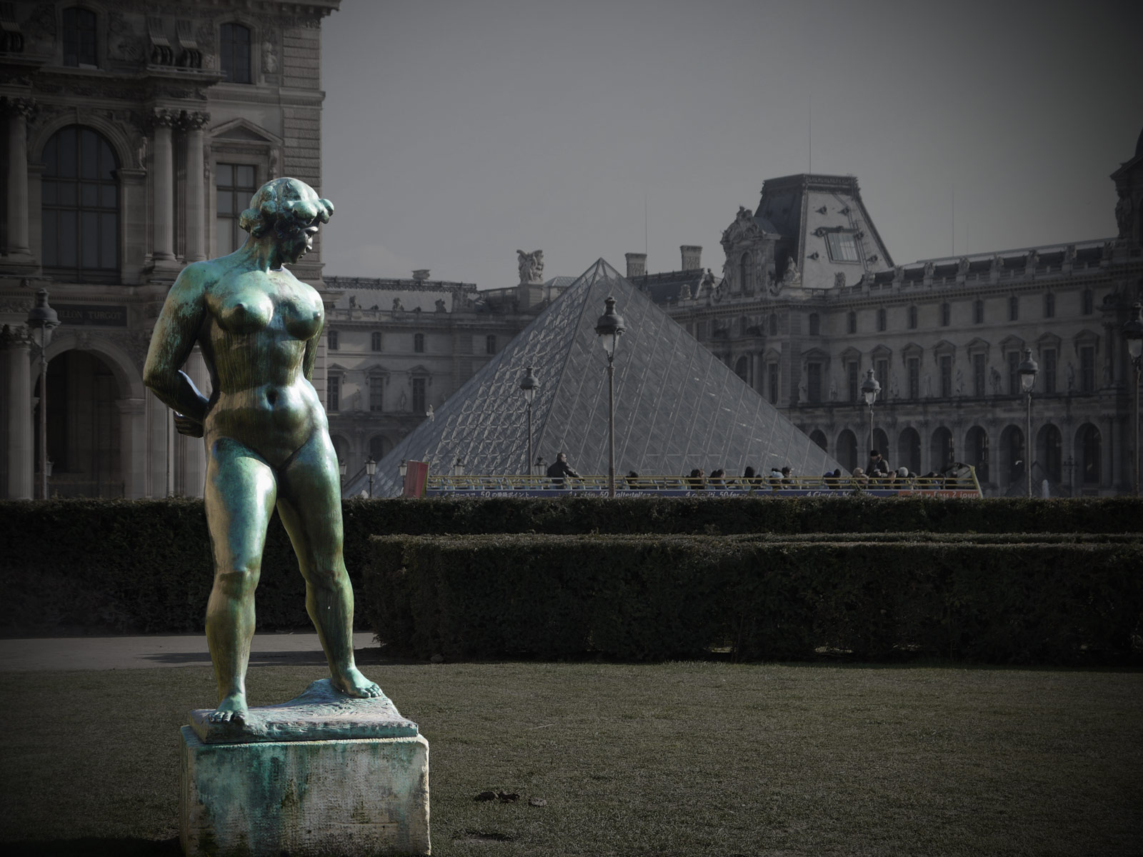 A Naked Lady Admiring the Louvre - Paris, France