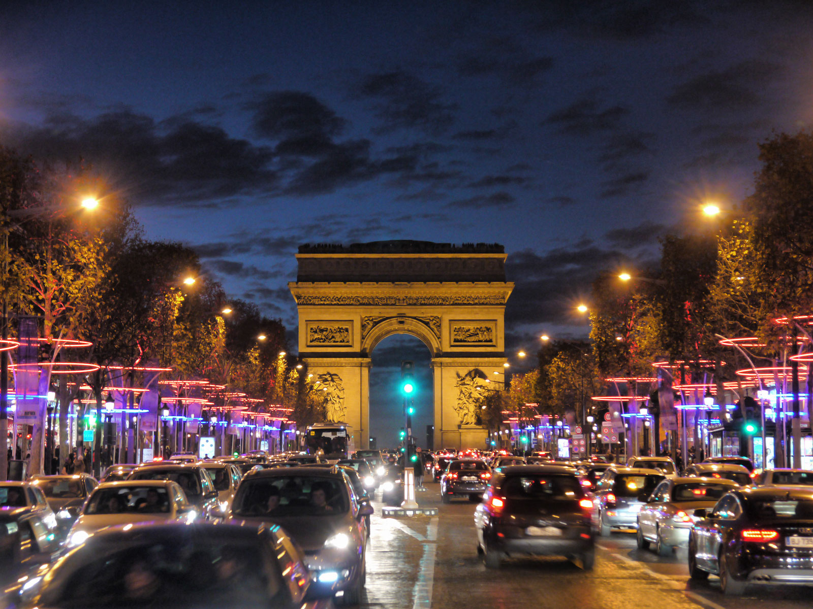 An Evening on Champs-Élysées: Arc de Triomphe at Dusk - Paris, France