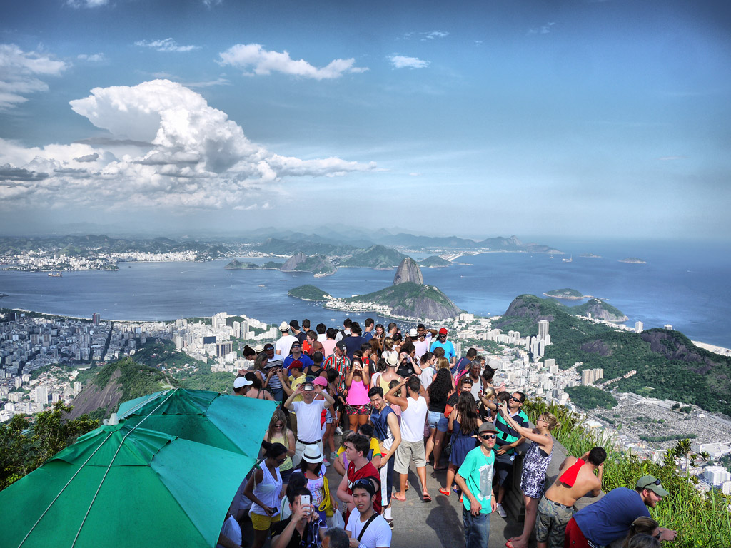 Crowds at the Summit of Corcovado Mountain to See Christ the Redeemer
