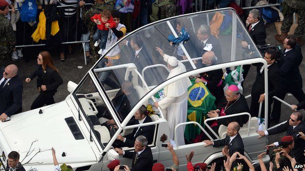 Pope Francis Arriving at Mass on Copacabana Beach