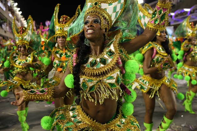 Samba Dancers Parading Through the Sambadrome at Rio Carnival