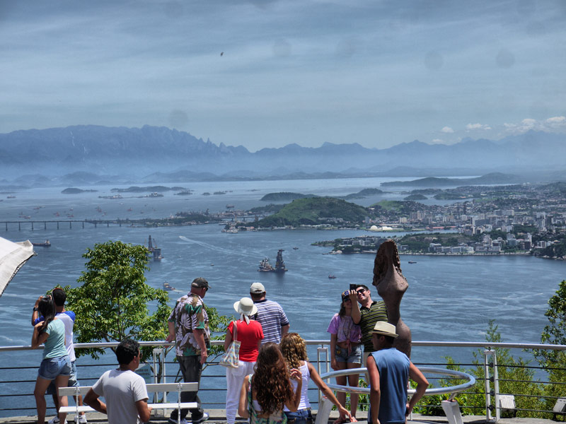 Tourists Looking Out Over Guanabara Bay from Sugarloaf Mountain