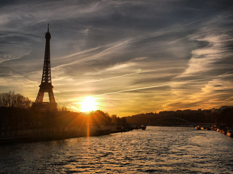 An Amazing Sunset in Paris Over the River Seine