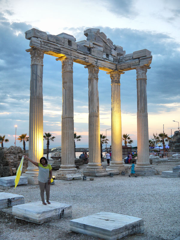Me (Nat) Waving a Flag at the Temple of Apollon - Side, Turkey