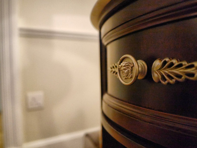 High Fashion Drawer Knobs with Versace's Signature Medusa Heads (Palazzo Versace Dubai Hotel Review)