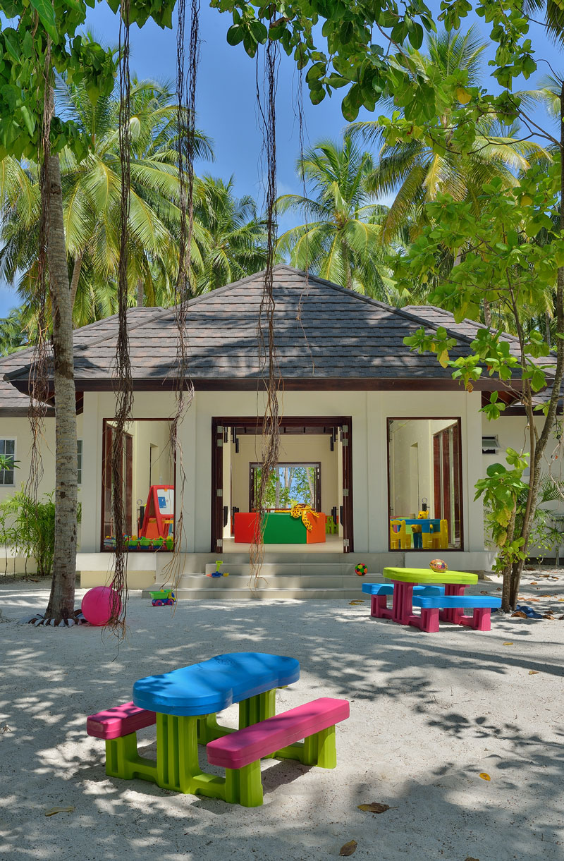 The Kids Club at Atmosphere Kanifushi has both indoor and outdoor play areas