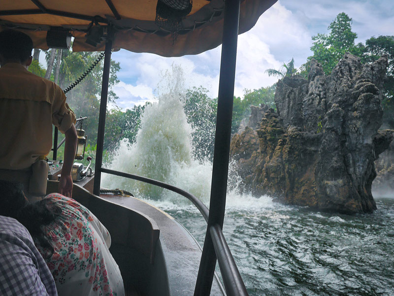 Beware! Explosions of Water Might Soak you on the Jungle River Cruise in Adventureland (Hong Kong Disneyland)
