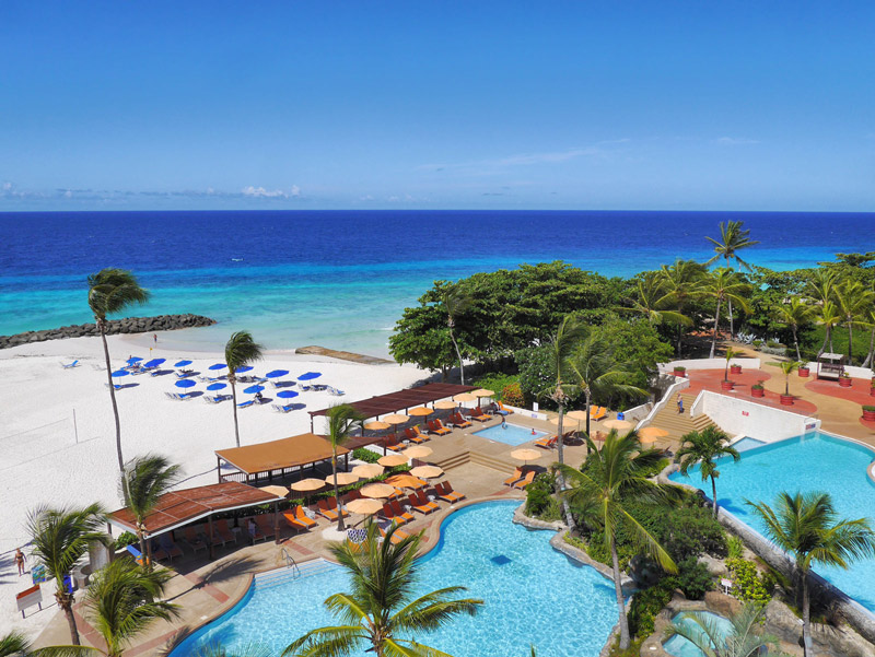 Hilton Barbados Resort: The View of the Pools and Beach from Our Hotel Room