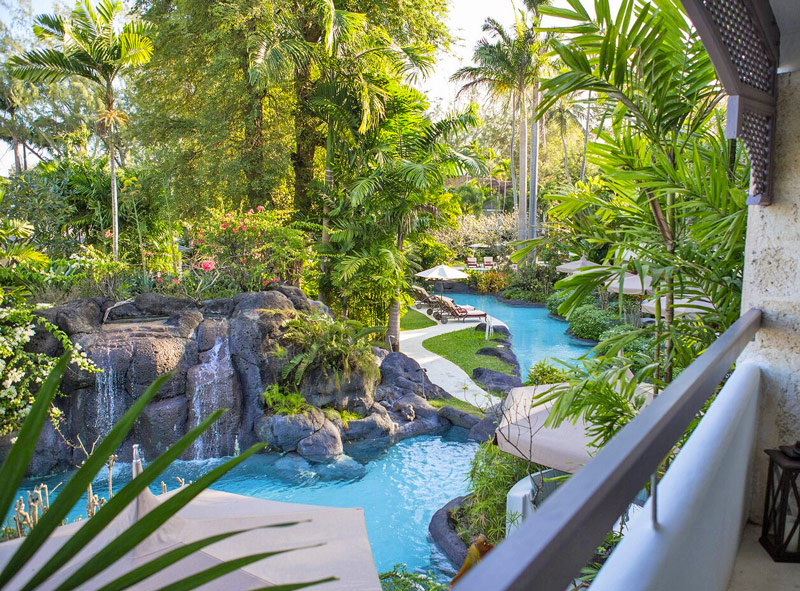 Scenic Hotel Room Views - Waterfalls and Palm Trees Surround the Lagoon-Style Swimming Pools
