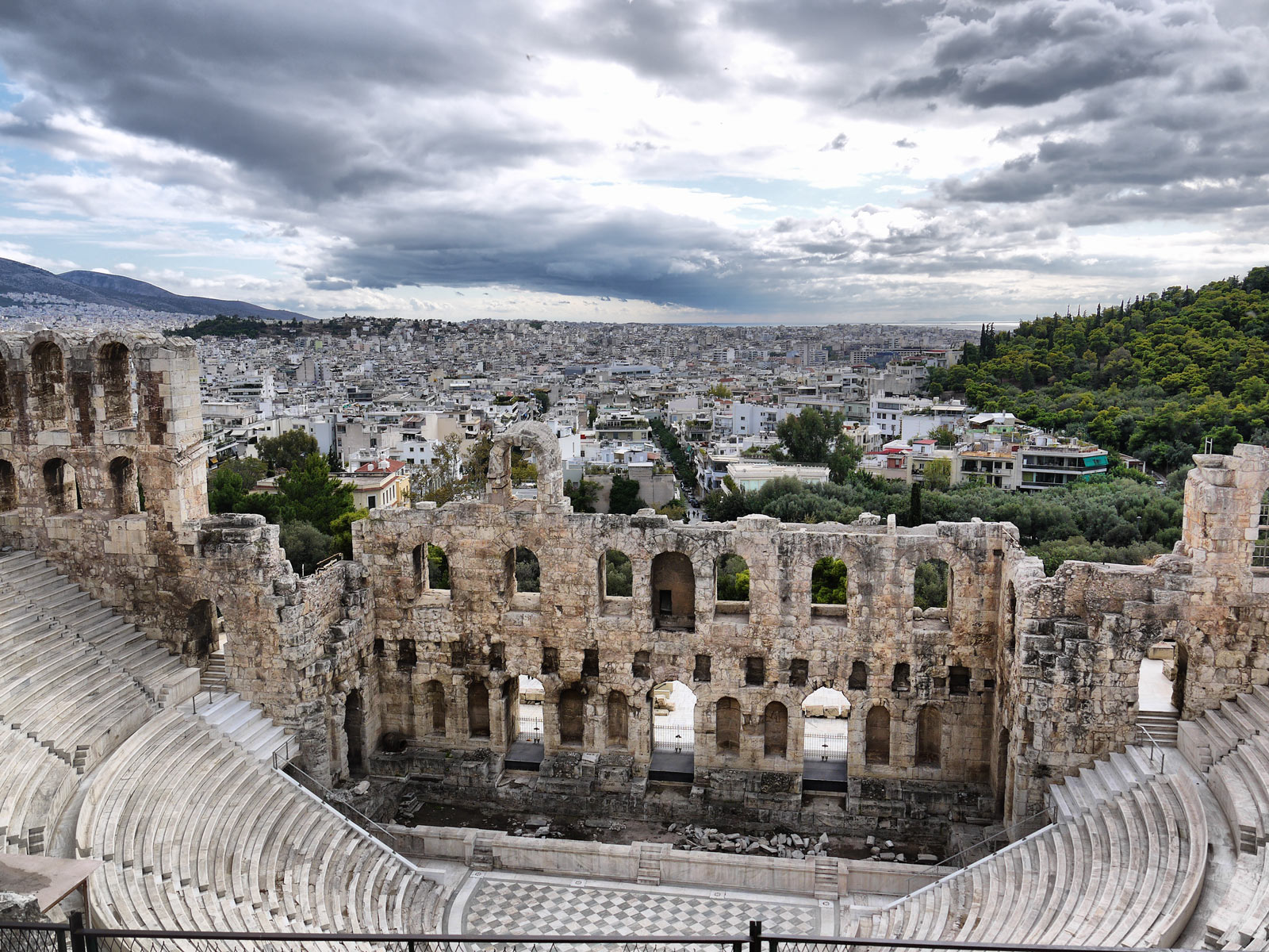 Looking Down Over the Herodes Atticus Theatre - Athens, Greece