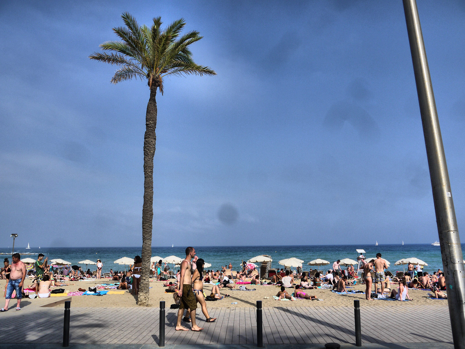 Chilling Out on Barceloneta Beach - Barcelona, Spain