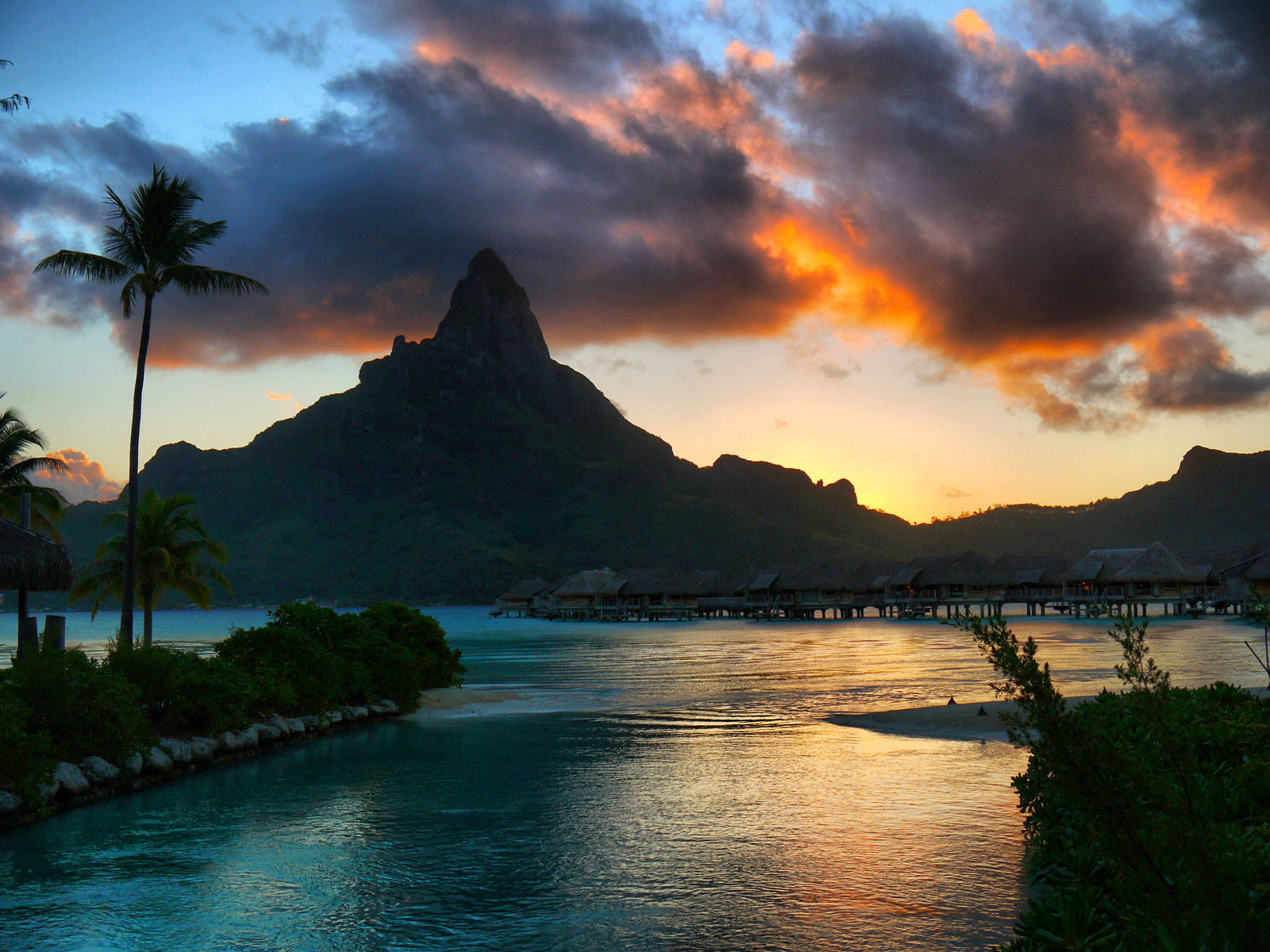 A Fiery Sunset Over Mount Otemanu - Bora Bora, French Polynesia