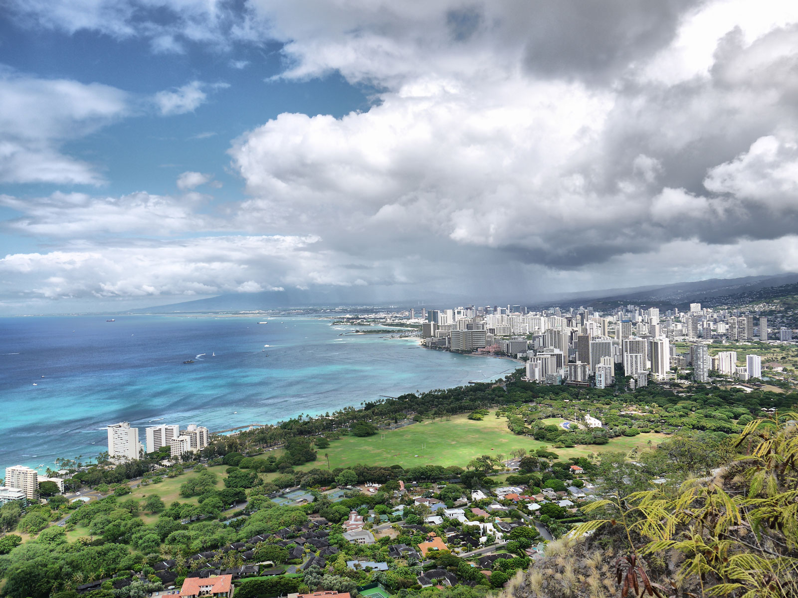 Looking Over Waikiki from the Diamond Head Summit - Honolulu, USA
