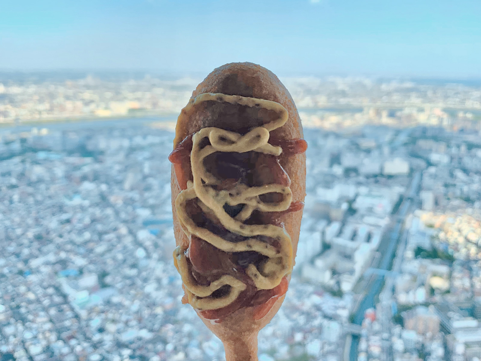 Snacking on the Go: Relish a Corndog with Ketchup and Mustard - Tokyo, Japan